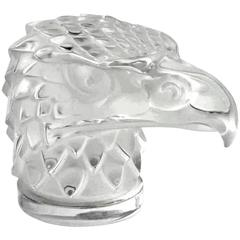 Mid-Century Lalique Carved Crystal Eagle Head Paperweight Ornament