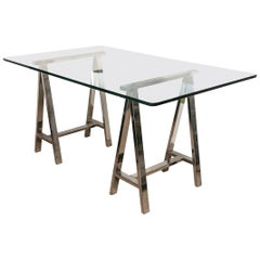 Chrome Saw Horse Leg Desk with Glass Top
