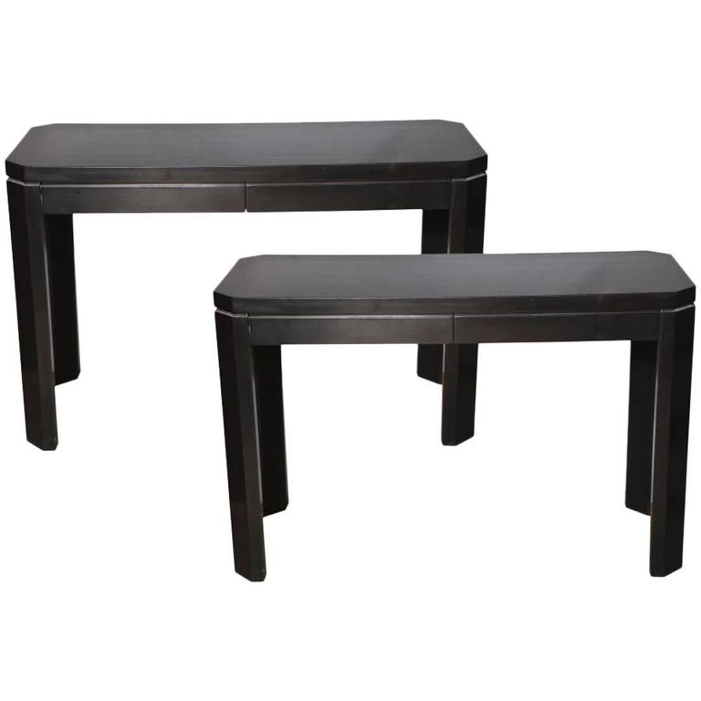 A Pair of Mid-Century Modern Jules Wabbes Lacquered Console Tables