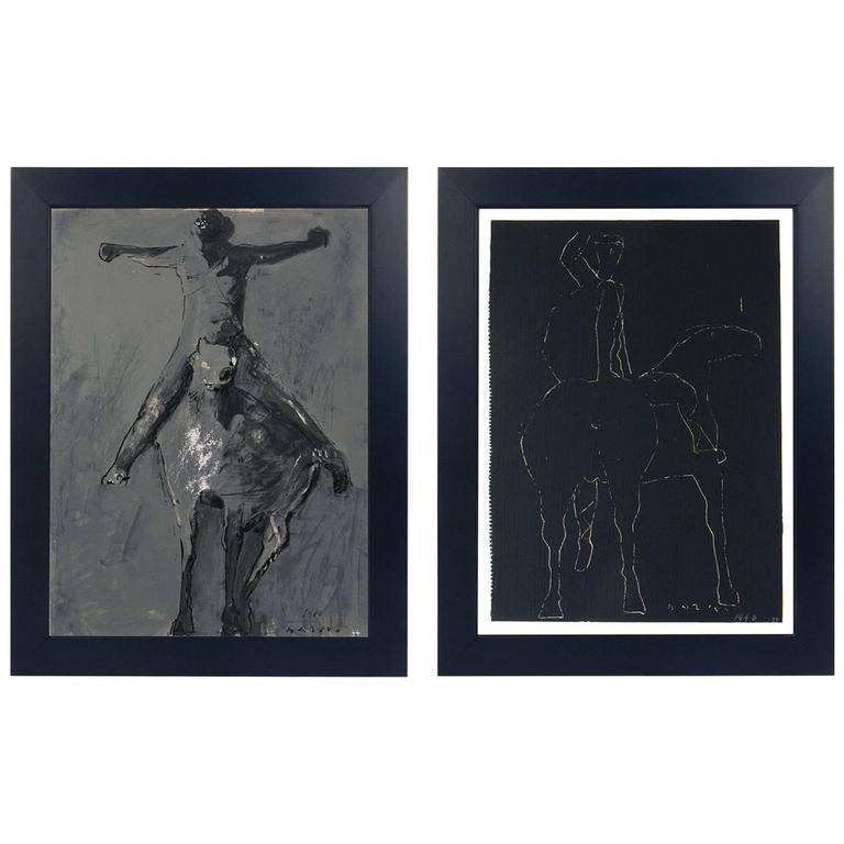 Pair of Horse and Rider Lithographs by Marino Marini
