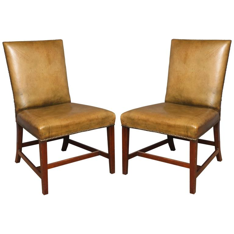 A Pair of English Chippendale Style Side Chairs