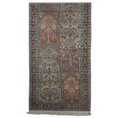 Persian Pale Blue Field Silk Runner Rug