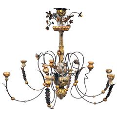 Custom Chandelier Constructed of Antique Wood and Iron