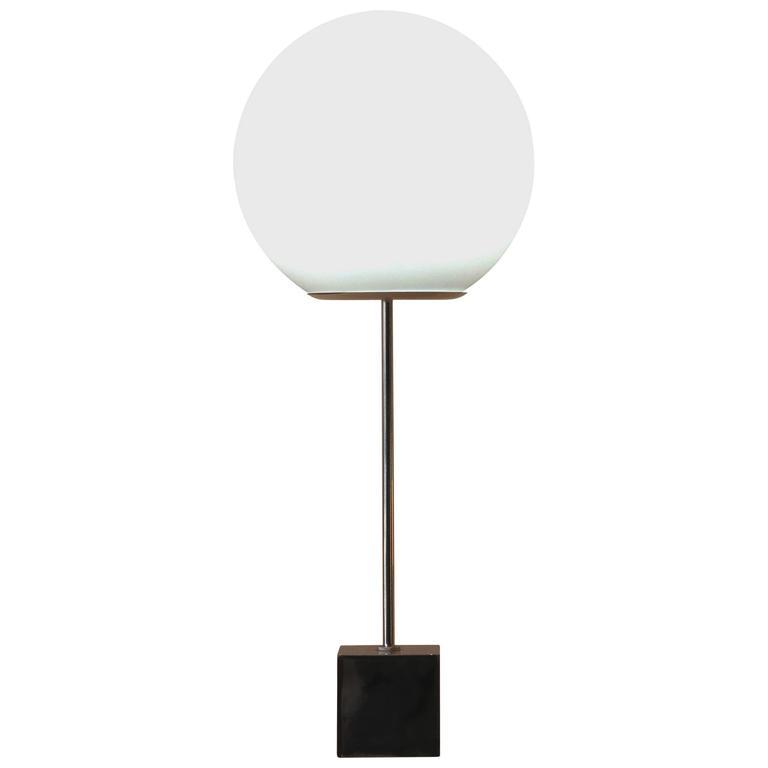 Vintage Robert Sonneman Chrome Lollipop Globe Table Lamp, Circa 1970 For  Sale