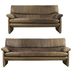 1970s De Sede DS 86 Vintage Thick Leather Sofa Set High Quality DS 85