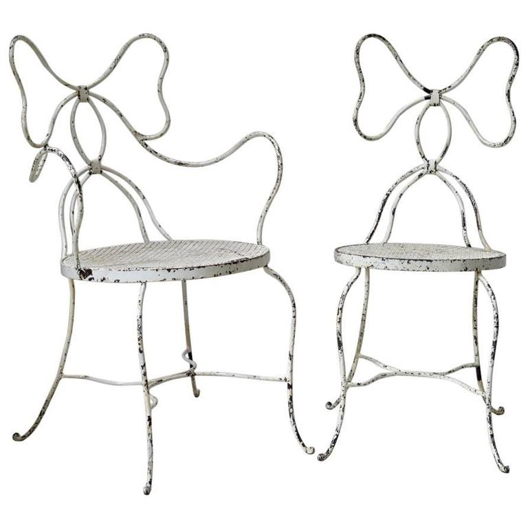 """French 1950s """"Bow"""" Chair and Armchair"""