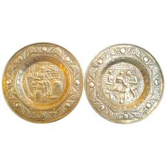 Set of Two Brass Decorative Wall Hanging Plates, France