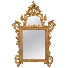 Italian 18th Century Venetian Giltwood Mirror with Original Mirror Plates
