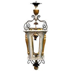Custom French Lantern with Polychromed Wood and Old Elements