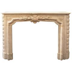 Louis XVI-Style Carrara Marble Fireplace Mantel