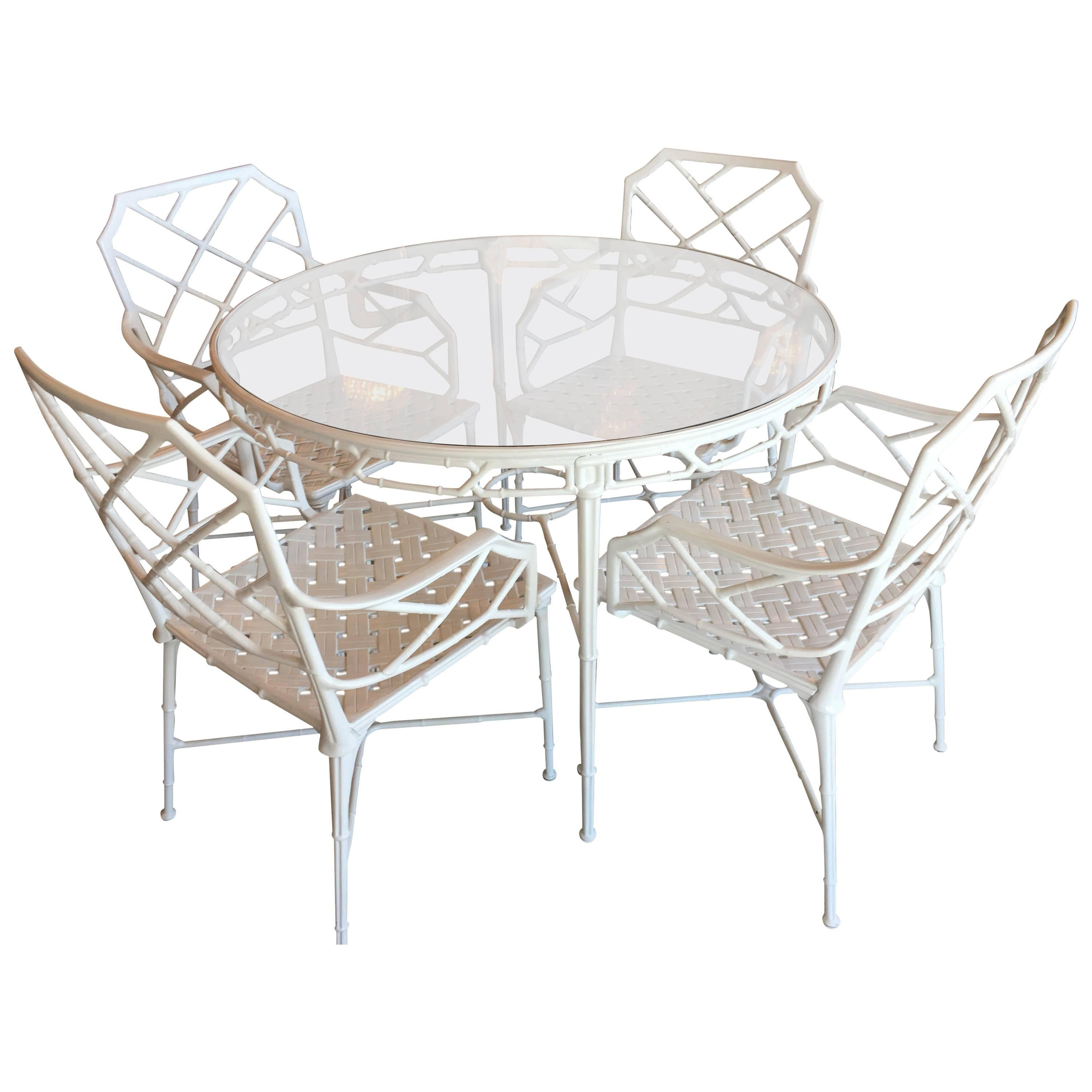 Brown Jordan Five Pc Patio Set Calcutta Faux Bamboo Armchairs Table Arm Chairs At 1stdibs