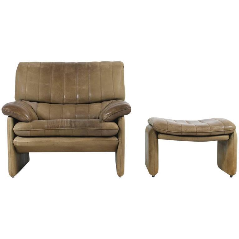 1970s De Sede DS 86 Vintage Leather Lounge Chair & Ottoman High Quality DS 85