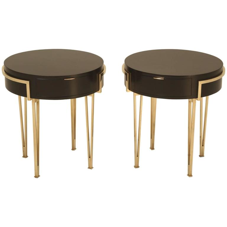 Pair of Ebonized Mid-Century Modern End or Side Tables For Sale