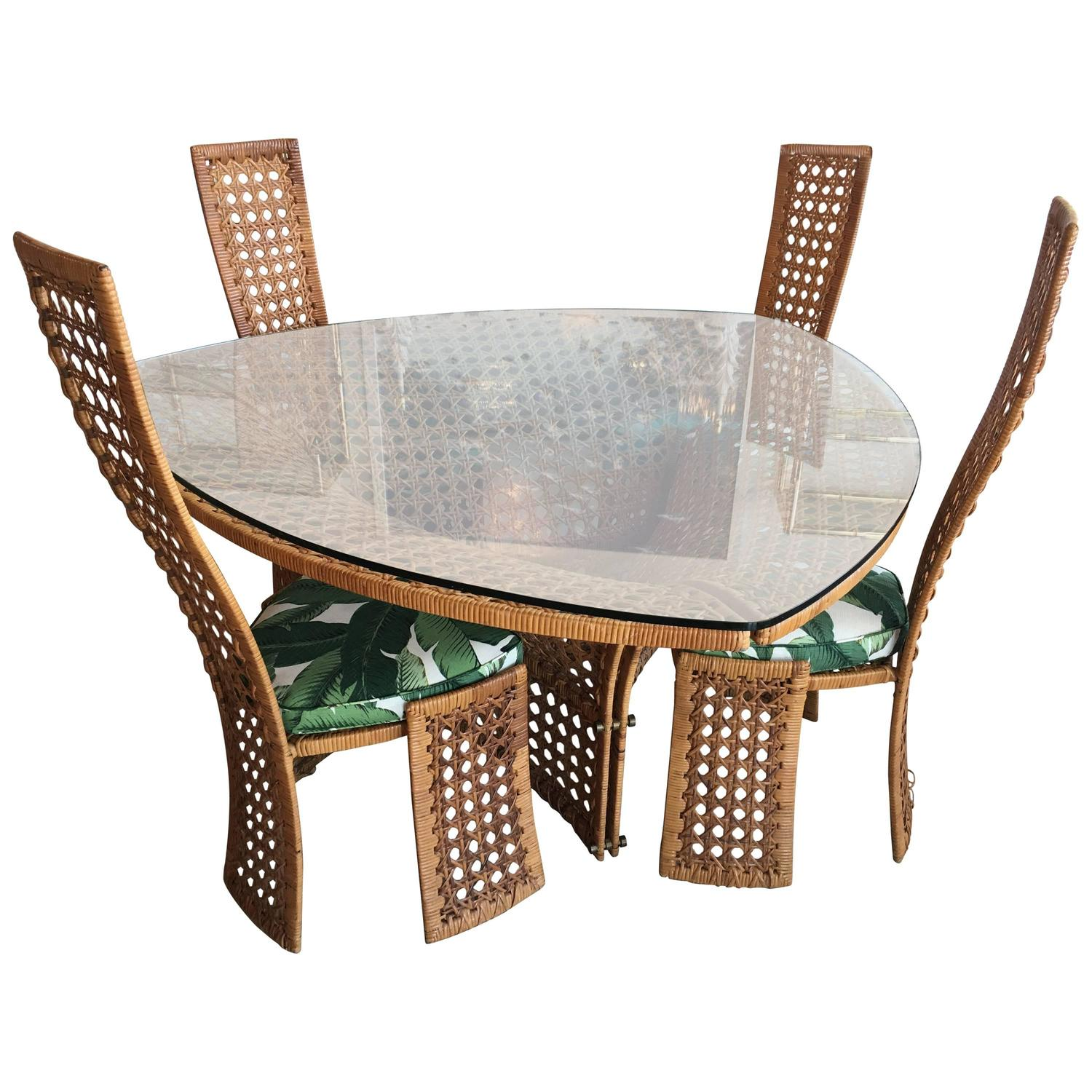 Square Game Table and Four Chairs Green Faux Bamboo Rattan For