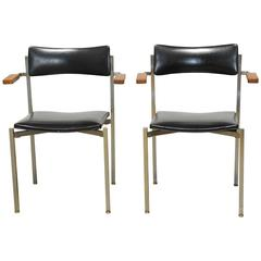 Pair of Mid-Century Steel Armchairs by Frederic Weinberg