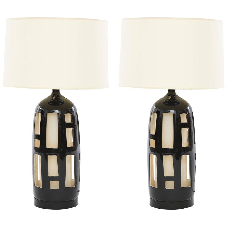 Striking Pair of Cut-Out Ceramic Lamps