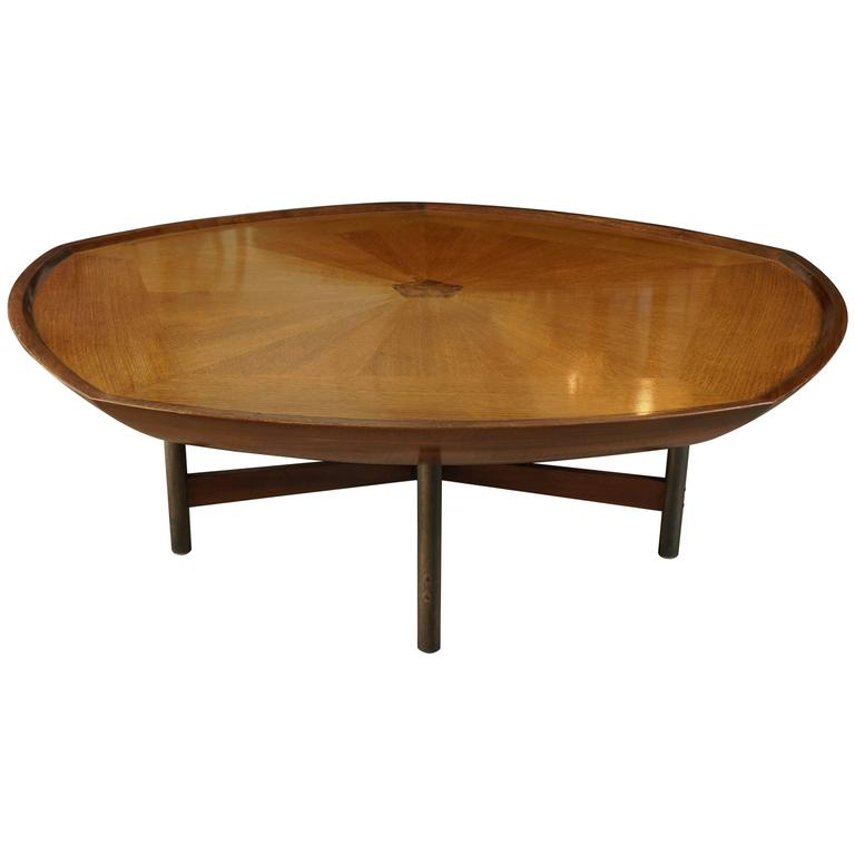 Walnut Top Coffee Table with Stretcher Base