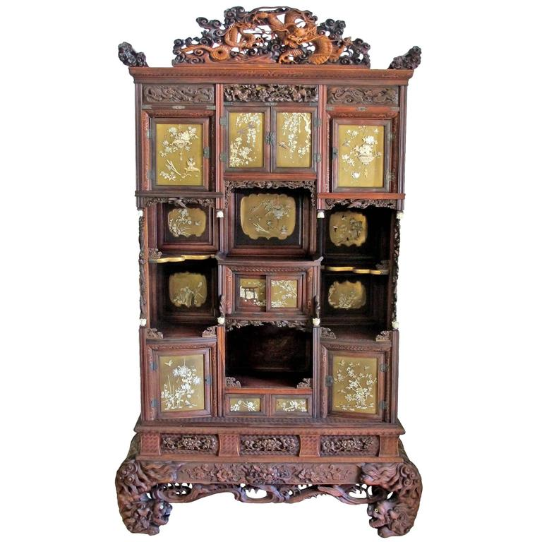Japanese Shibayama Cabinet, Meiji Period For Sale