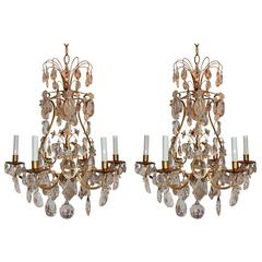 Wonderful Pair Bagues Crystal Gilt 8 Arm Jansen Chandeliers Pagoda Fixtures