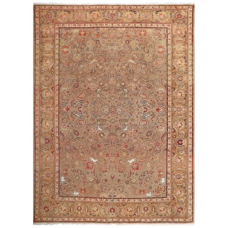 Fine Animal Motif Vintage Tabriz Persian Rug