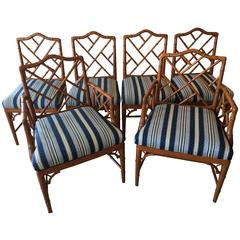 Faux Bamboo Chinese Chippendale Set of Six Dining Chairs, Chinoiserie