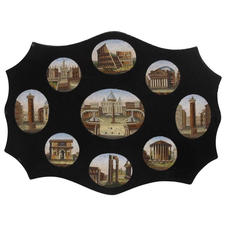 Italian Grand Tour Micro Mosaic Plaque For Sale