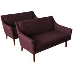 Pair of Mid-Century Modern Walnut Jens Risom Upholstered Sofa