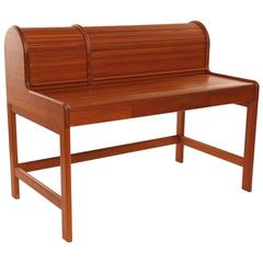 Danish Retro Teak Roll Top Bureau Vintage 1960s at 1stdibs
