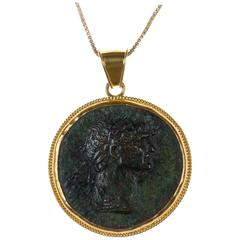 Authentic Roman Bronze Coin Pendent of Roman Emperor Marcus Ulpius Trajanus