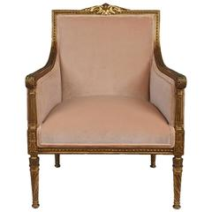 French Louis XVI Style Giltwood Bergere