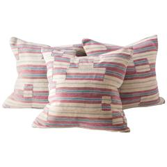 Stripwoven Cloth Cushion Off-White, Blue and Mauve