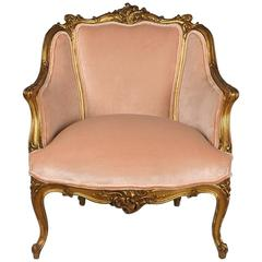 19th Century French Louis XV Style Giltwood Bergere