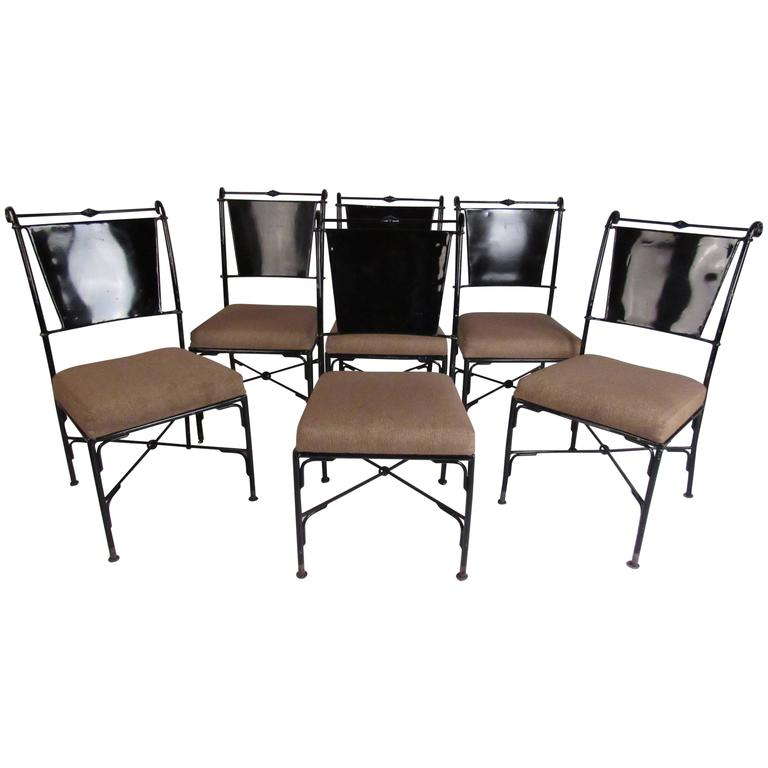 Set Of Six Contemporary Metal Dining Chairs For Sale At 1stdibs
