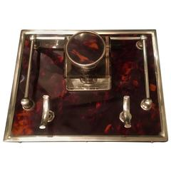 Red Tortoise and Sterling Silver Ink Well with Gallery