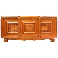 French Art Deco Sideboard Buffet Credenza Style of Dudouyt Carved Deer Birds