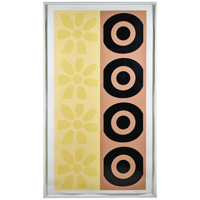 Peter Gee Pop Art Daisy and Target Abstract Silkscreen Panel