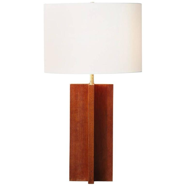 Solid Oak Cruciform Table Lamp in the Style of Vladimir Kagan