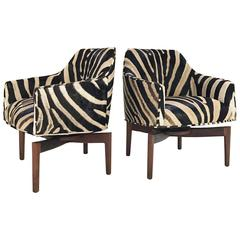 Pair of Jens Risom Walnut Swivel Chairs Restored in Zebra