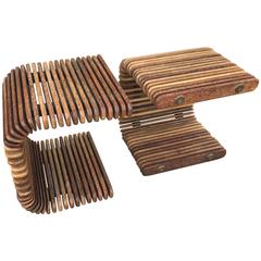 Pair of Slatted Wood Side Tables or Coffee Table