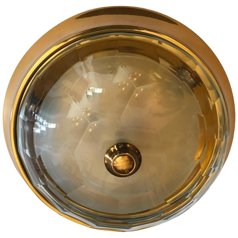 Oscar Torlasco Gold Crystal 1960s Flush Ceiling Light