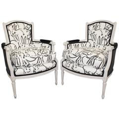 Pair of French Hollywood Regency Bergeres with Hunt Slonem 'Bunnies' Fabric