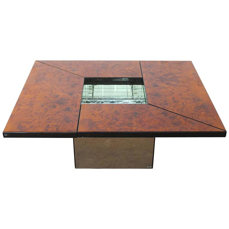 Paul Michel Burl Wood Multi Functional Coffee Table And Dry Bar For