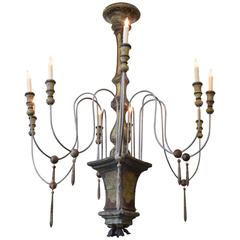Large Italian Rococo Faux Marble Painted Nine-Light Chandelier, UL Wired