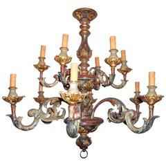 Carved Painted Rococo Style Chandelier with Gilt Highlights