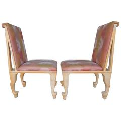 Amazing 1980s Glam Pair of Side Chairs with Silk Ikat and Animal Feet Legs