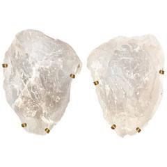 Pair of Natural Form Rock Crystal Quartz Sconces