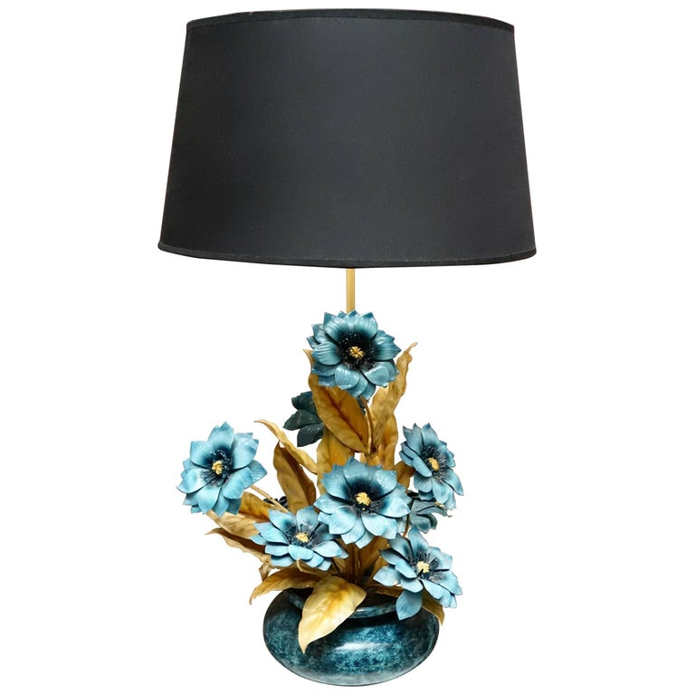 Two Metal Painted Flower Table Lamps For Sale