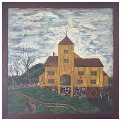 Huge Primitive Folk Painting of Historic Cider Mill