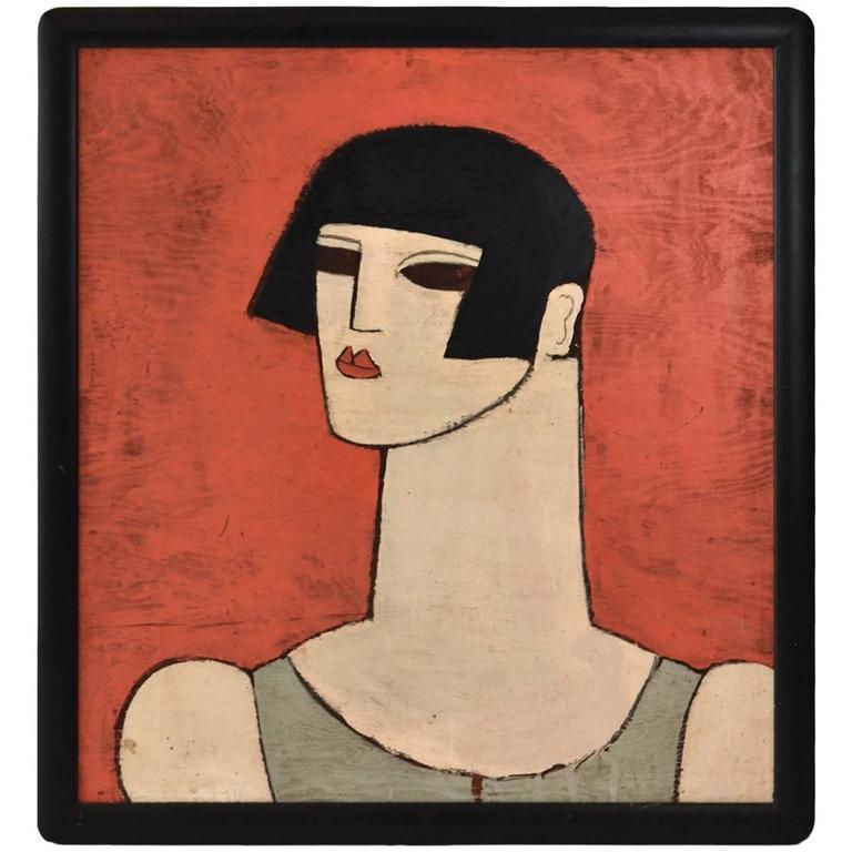 Albert Elia Oil on Wood 1960s Art Deco Figural Painting