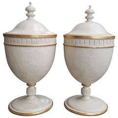 19th-20th Century Pair of George III Style Custom Paint Knife Urns